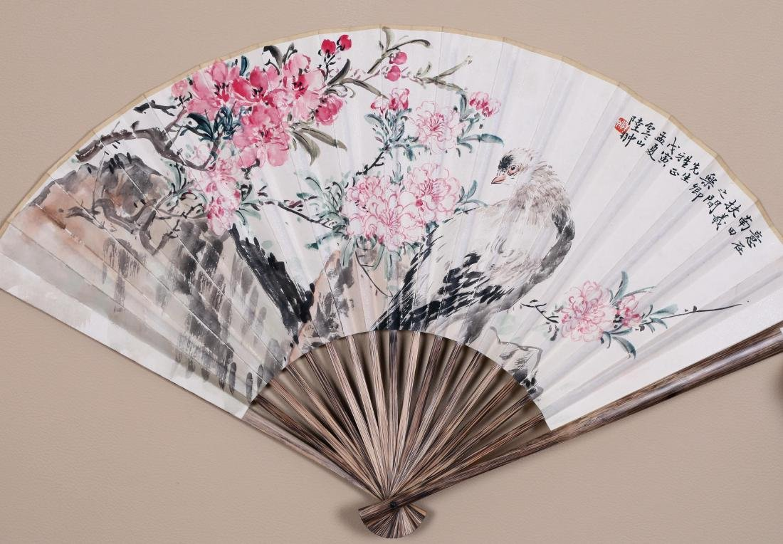 CHINESEFAN PAINTING OF BIRD AND FLOWER AND CALLIGRAPHY
