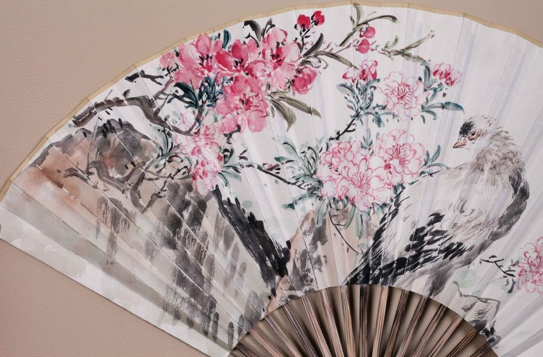 CHINESEFAN PAINTING OF BIRD AND FLOWER AND CALLIGRAPHY - 3