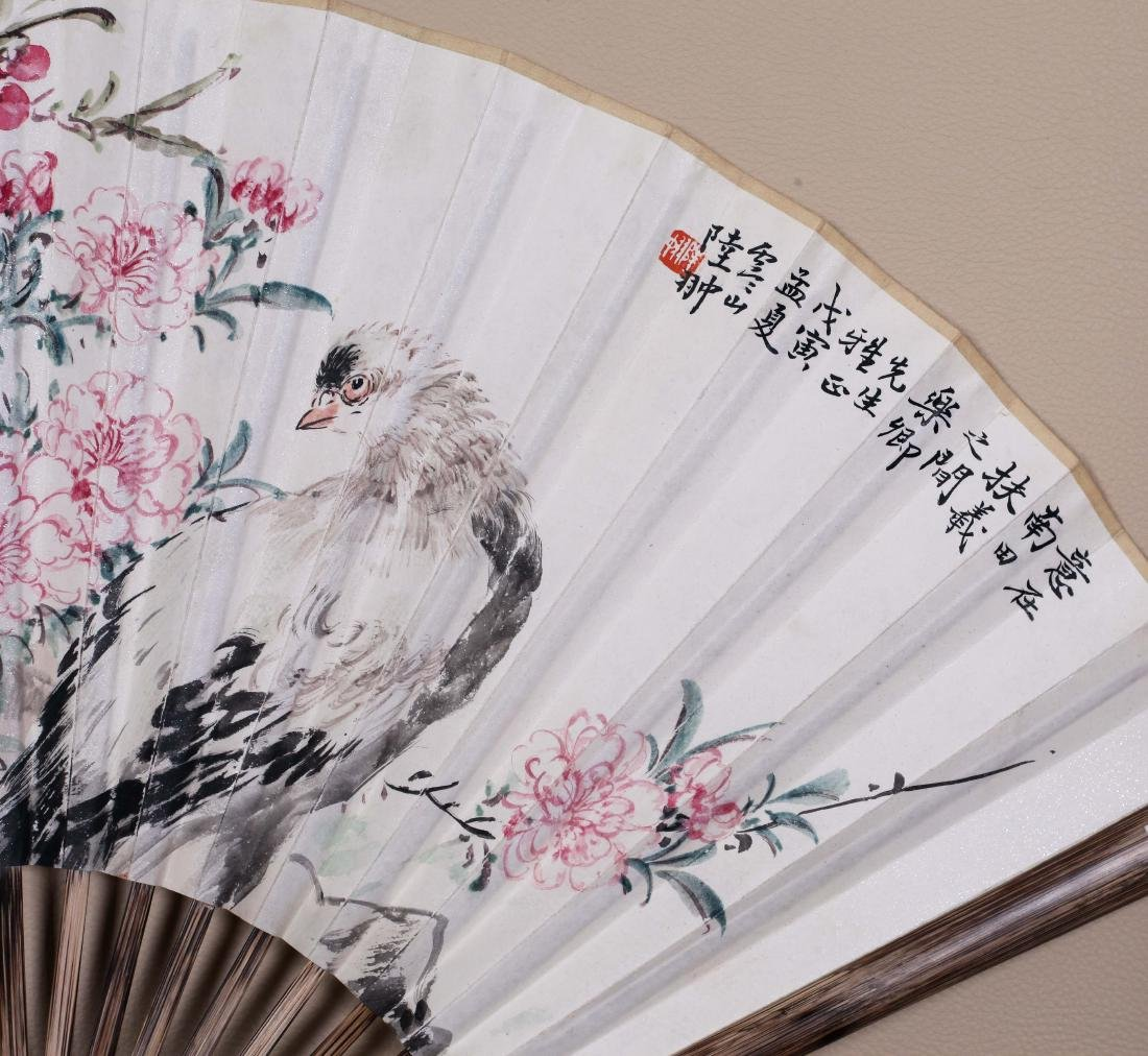 CHINESEFAN PAINTING OF BIRD AND FLOWER AND CALLIGRAPHY - 4