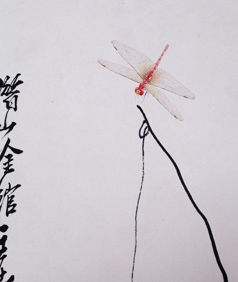 CHINESE SCROLL PAINTING OF DRAGONFLY AND SHIRMP WITH - 3