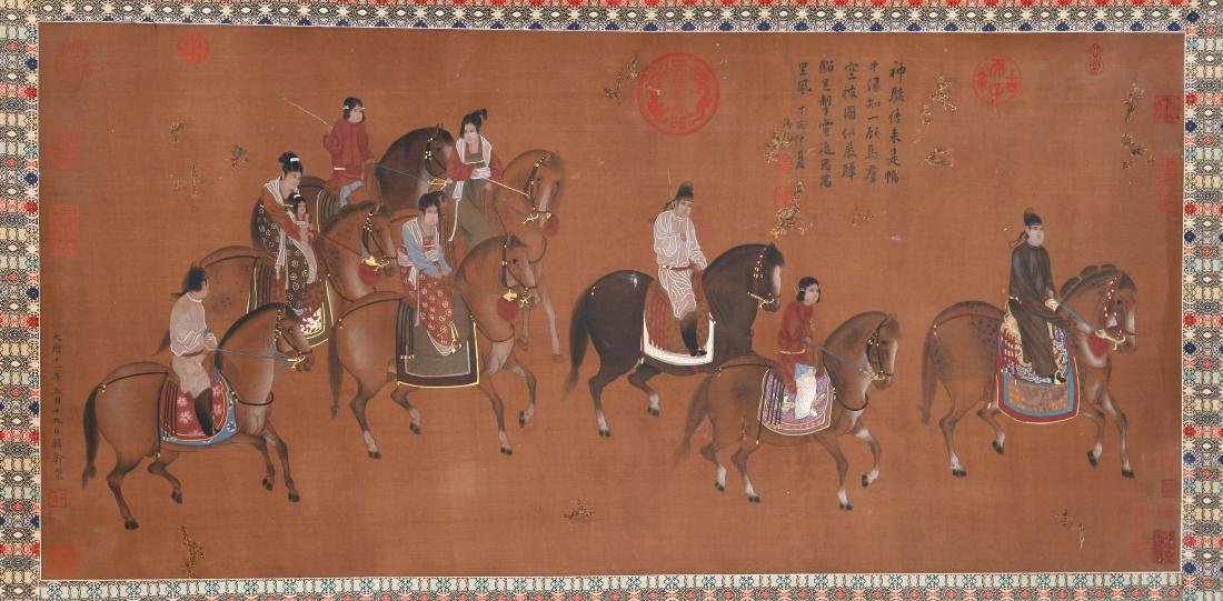 CHINESE SCROLL PAINTING OF HORSE RIDERS