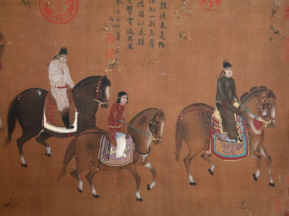 CHINESE SCROLL PAINTING OF HORSE RIDERS - 2