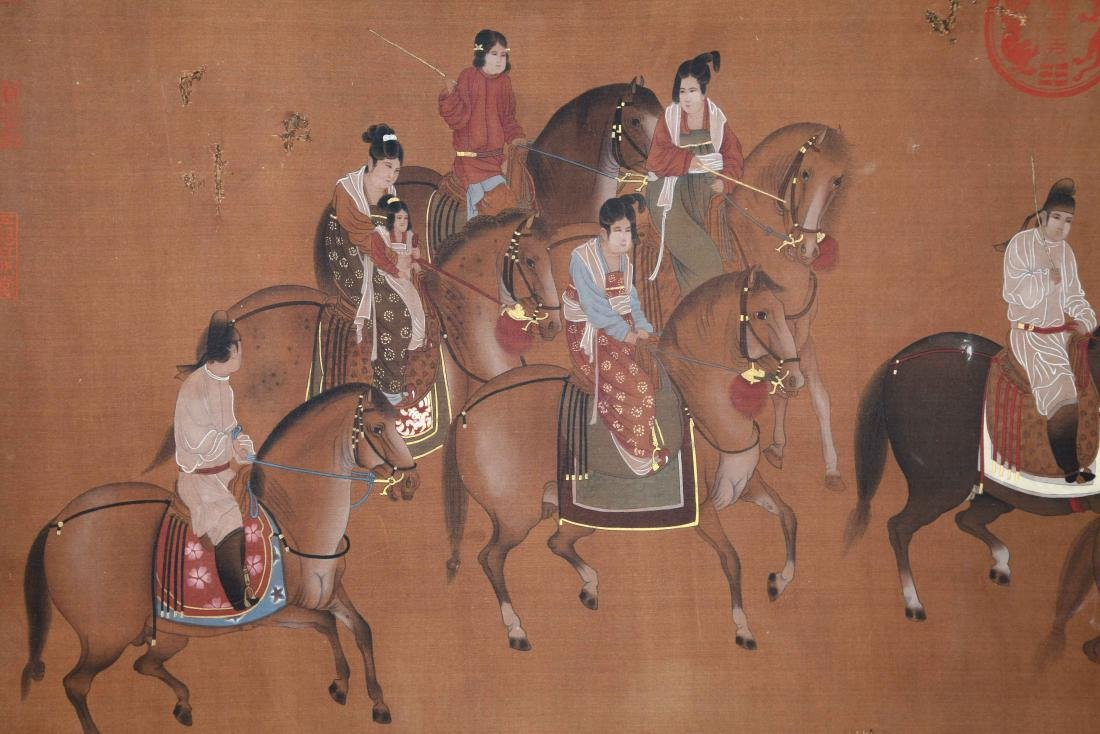 CHINESE SCROLL PAINTING OF HORSE RIDERS - 3