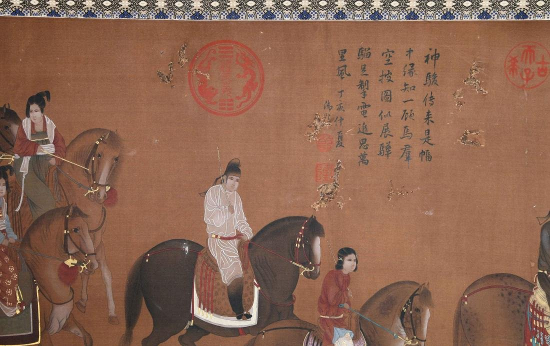 CHINESE SCROLL PAINTING OF HORSE RIDERS - 4