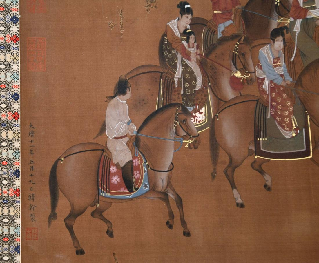 CHINESE SCROLL PAINTING OF HORSE RIDERS - 5