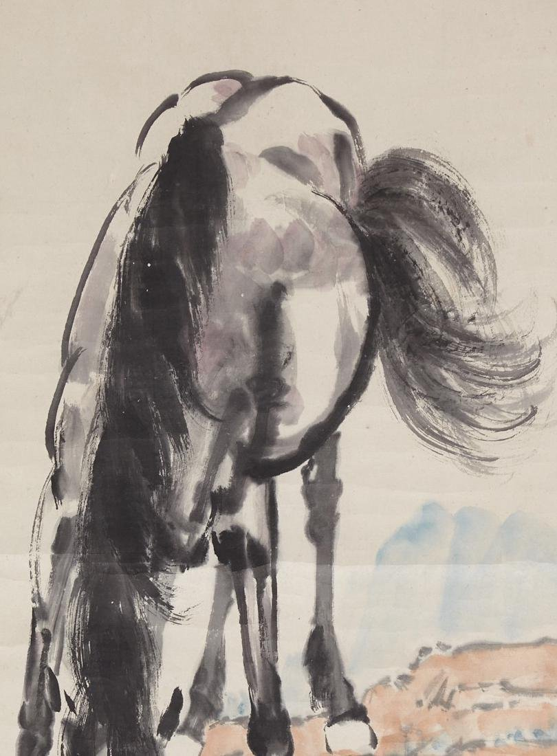 CHINESE SCROLL PAINTING OF HORSE DRIKING - 3