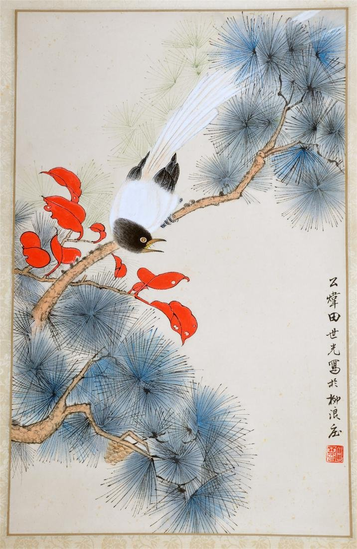 CHINESE SCROLL PAINTING OF BIRD ON PINE TREE
