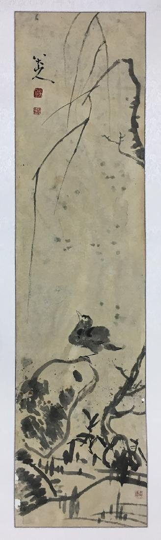 CHINESE SCROLL PAINTING OF BIRD ON ROCK