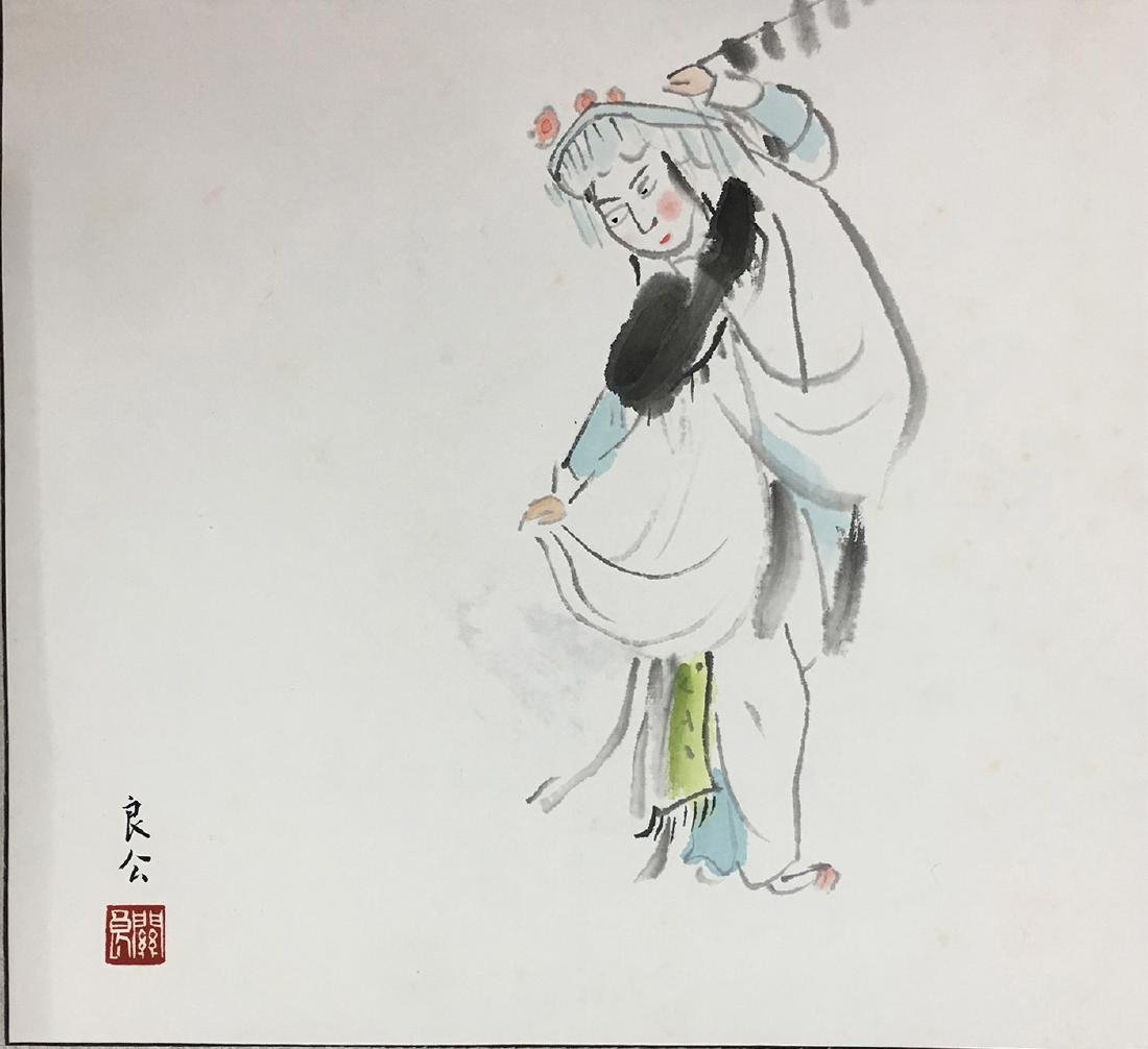 CHINESE SCROLL PAINTING OF AN OPERA FIGURE