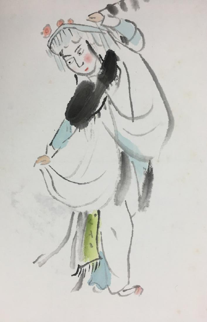 CHINESE SCROLL PAINTING OF AN OPERA FIGURE - 2
