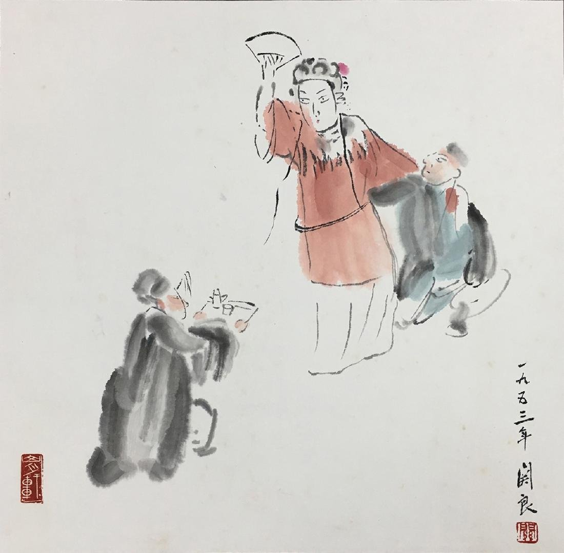 CHINESE SCROLL PAINTING OF OPERA FIGURES