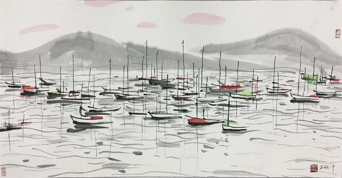 CHINESE SCROLL PAINTING OF SAILINGS BOATS