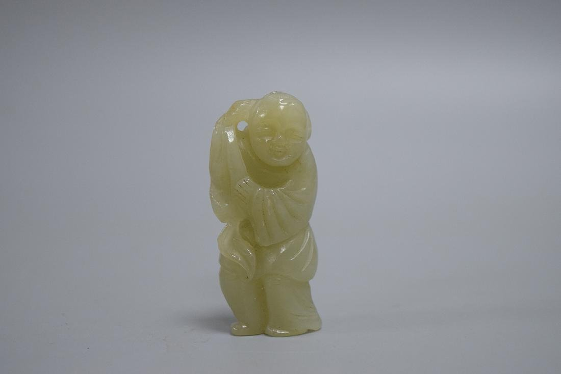 CHINESE SPINACH JADE CARVED BOY