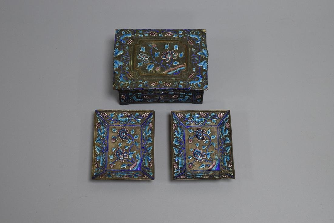 THREE CHINESE SILVER ENAMEL DISHES