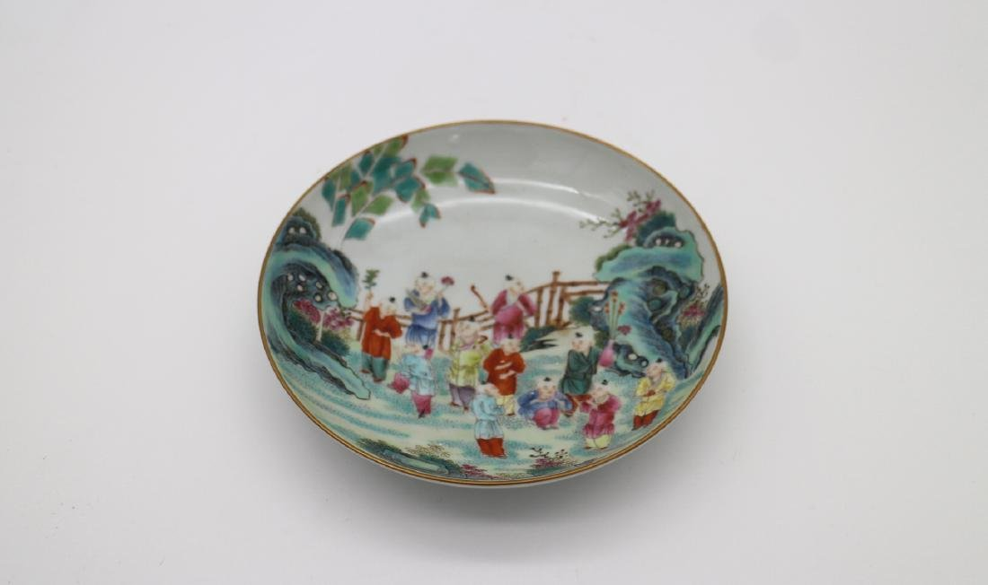 CHINESE PORCELAIN OF FAMILLE ROSE BOY PLAYING DISH