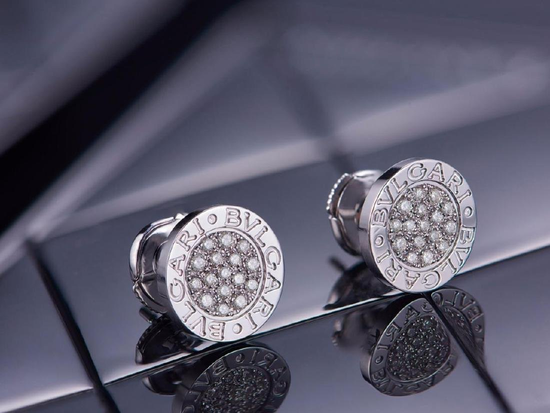 BVLGARI BVLGARI 18K WHITE GOLD DIAMOND EARRINGS