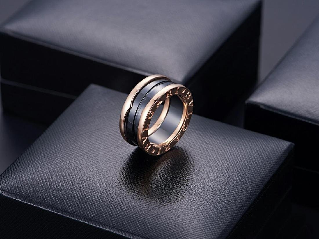 BVLGARI B ZONE1 18K ROSE GOLD BLACK CEMARIC RING