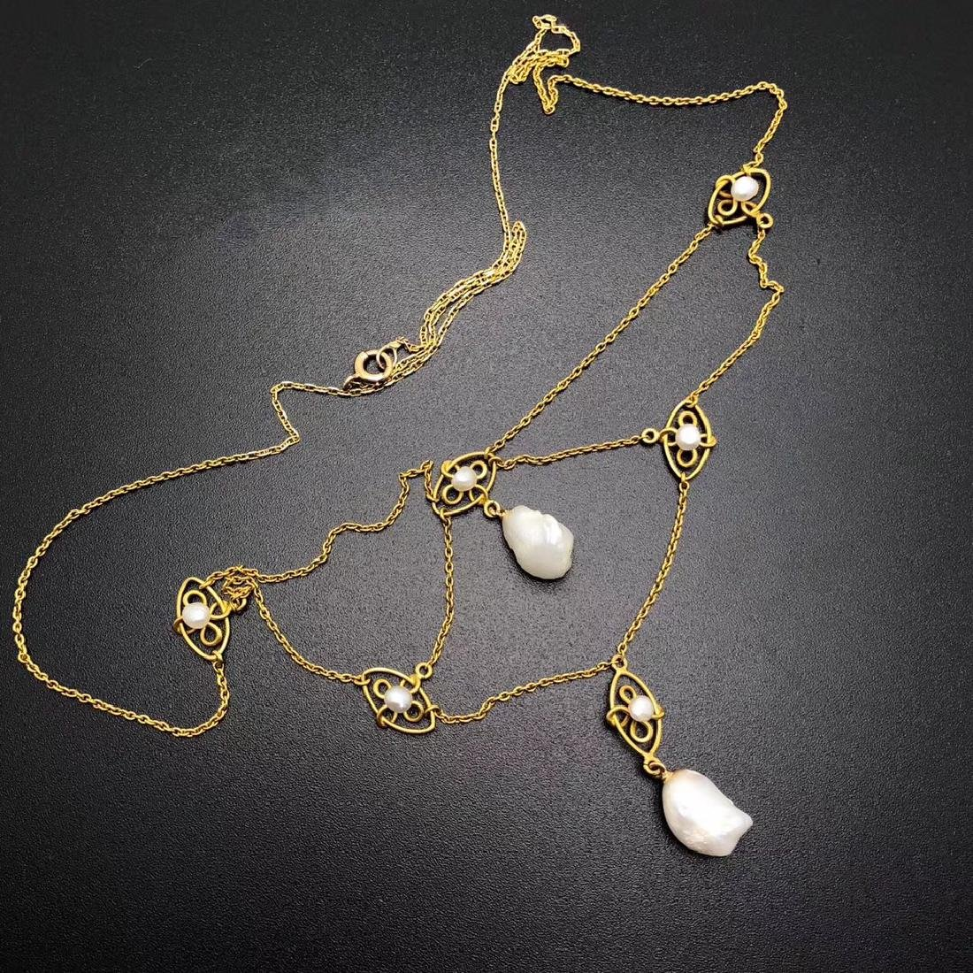 1920S 18K GOLD PEARL NECKLACE