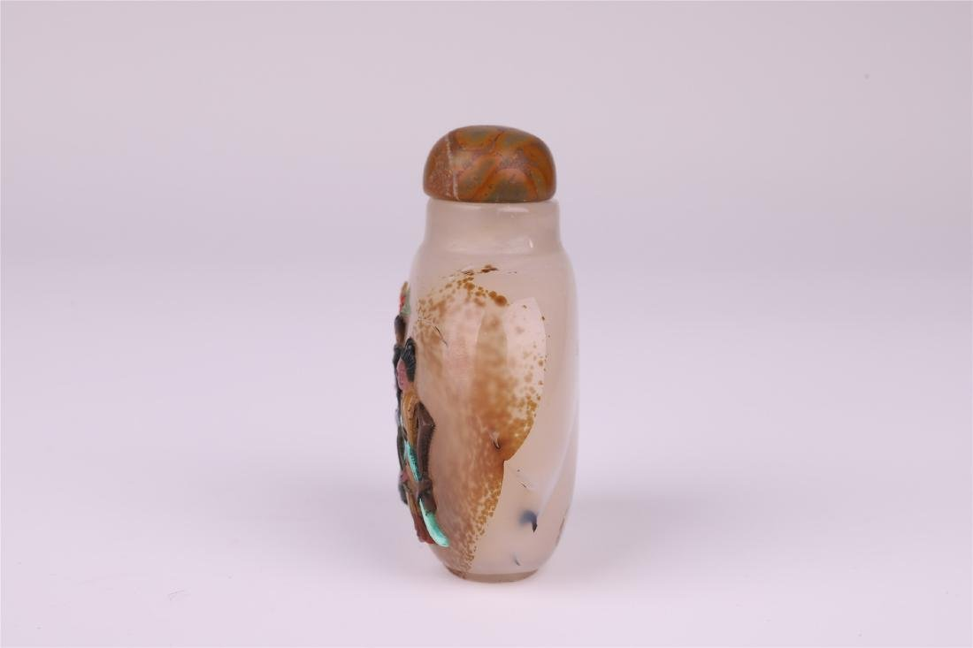 CHINESE GEM STONE INLAID AGATE SNUFF BOTTLE - 2