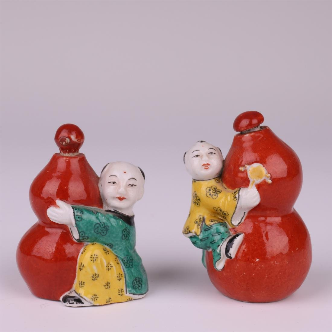 CHINESE PORCELAIN FAMILLE ROSE RED GLAZED BOY GOURD