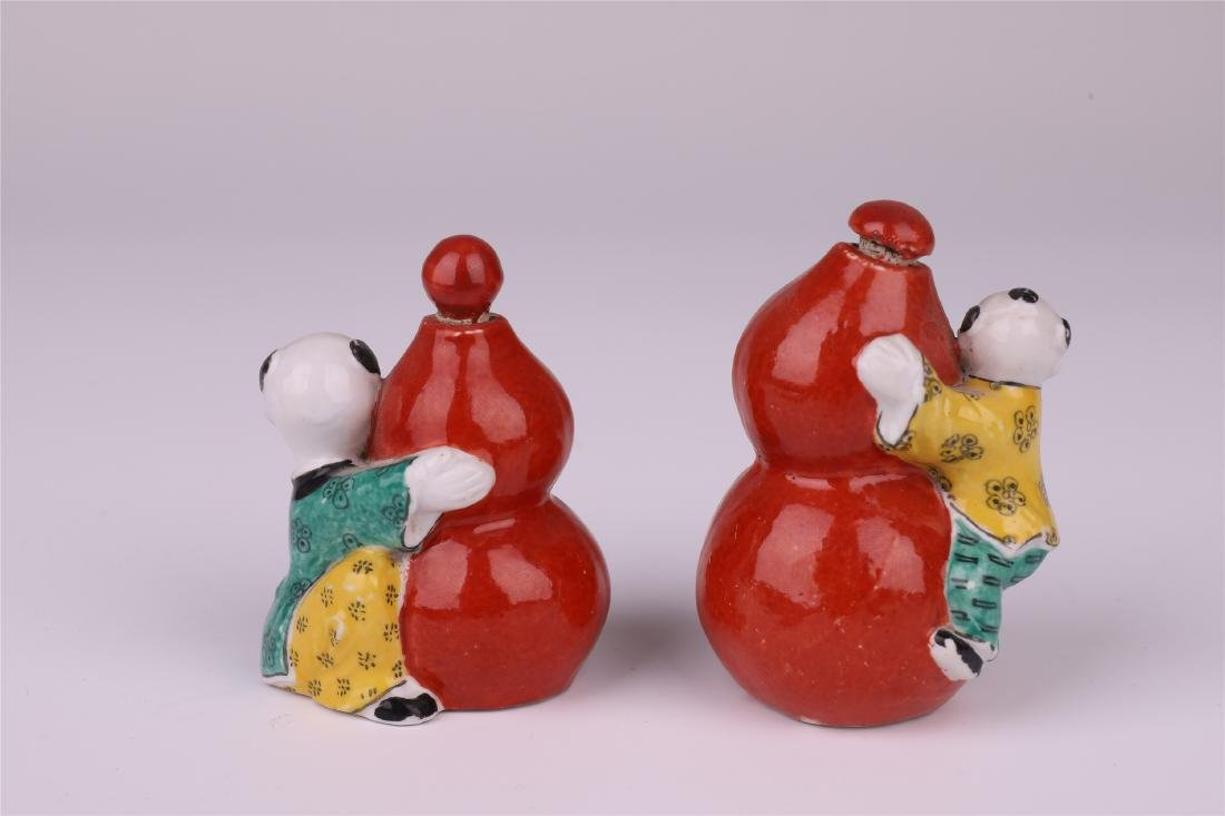 CHINESE PORCELAIN FAMILLE ROSE RED GLAZED BOY GOURD - 3