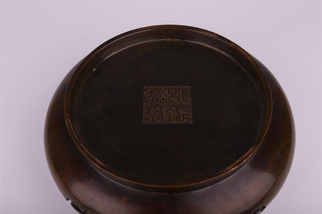 LARGE CHINESE BRONZE COPPER CENSER WITH ARABIC - 8