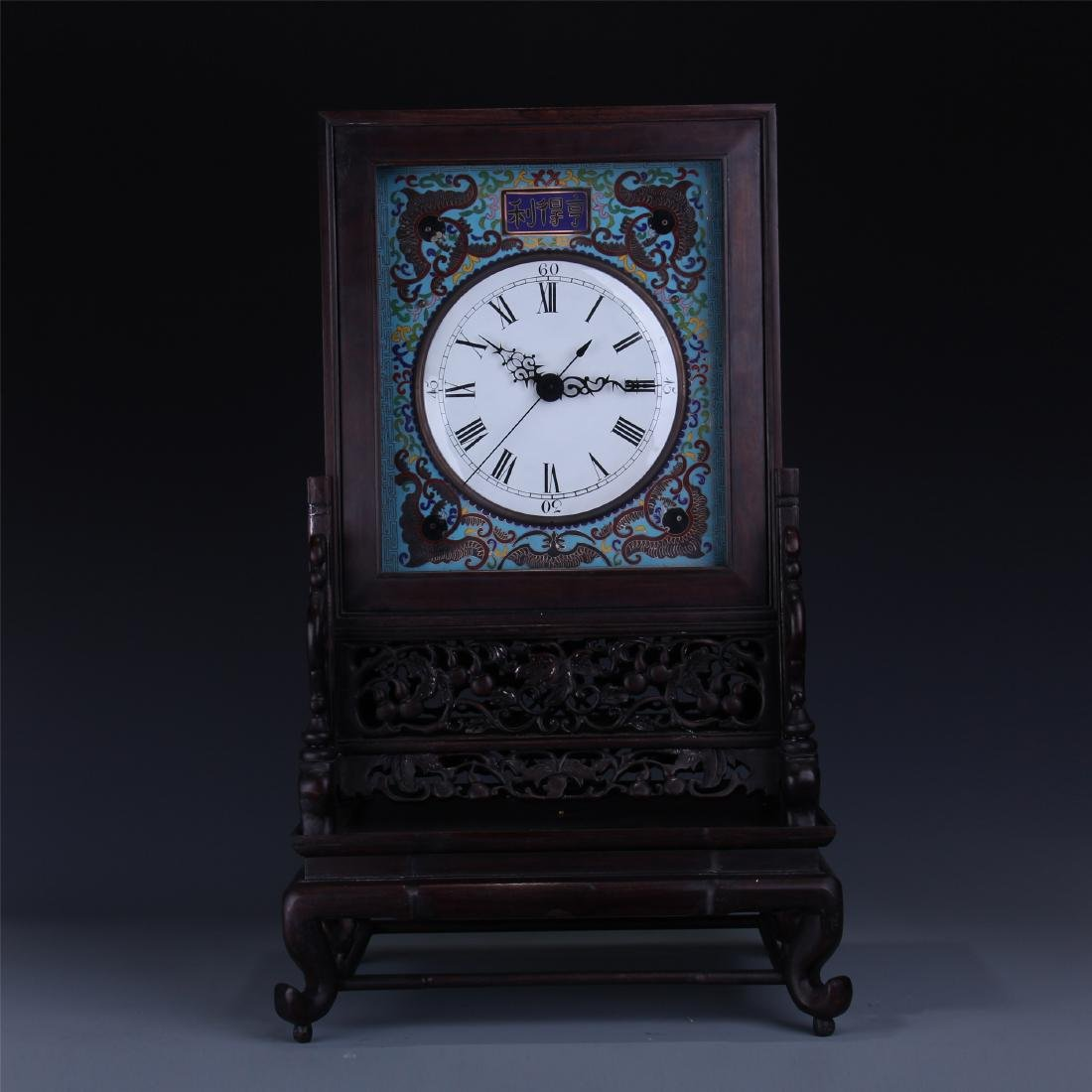 CHINESE TABLE SCREEN SHAPED CLOISONNE CLOCK