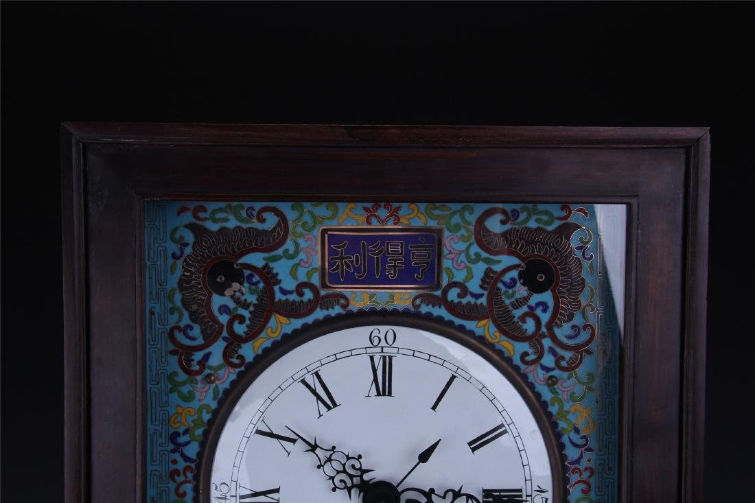 CHINESE TABLE SCREEN SHAPED CLOISONNE CLOCK - 2