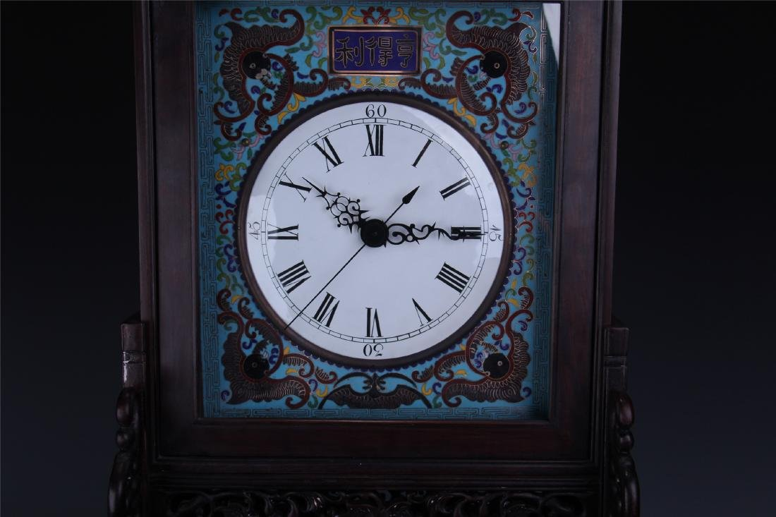 CHINESE TABLE SCREEN SHAPED CLOISONNE CLOCK - 3