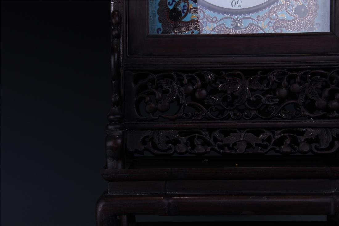 CHINESE TABLE SCREEN SHAPED CLOISONNE CLOCK - 4
