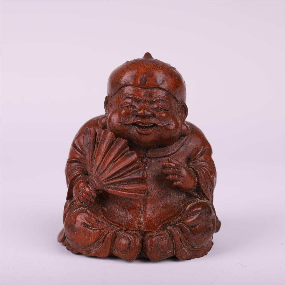 CHINESE BAMBOO CARVED SEATED OLD MAN