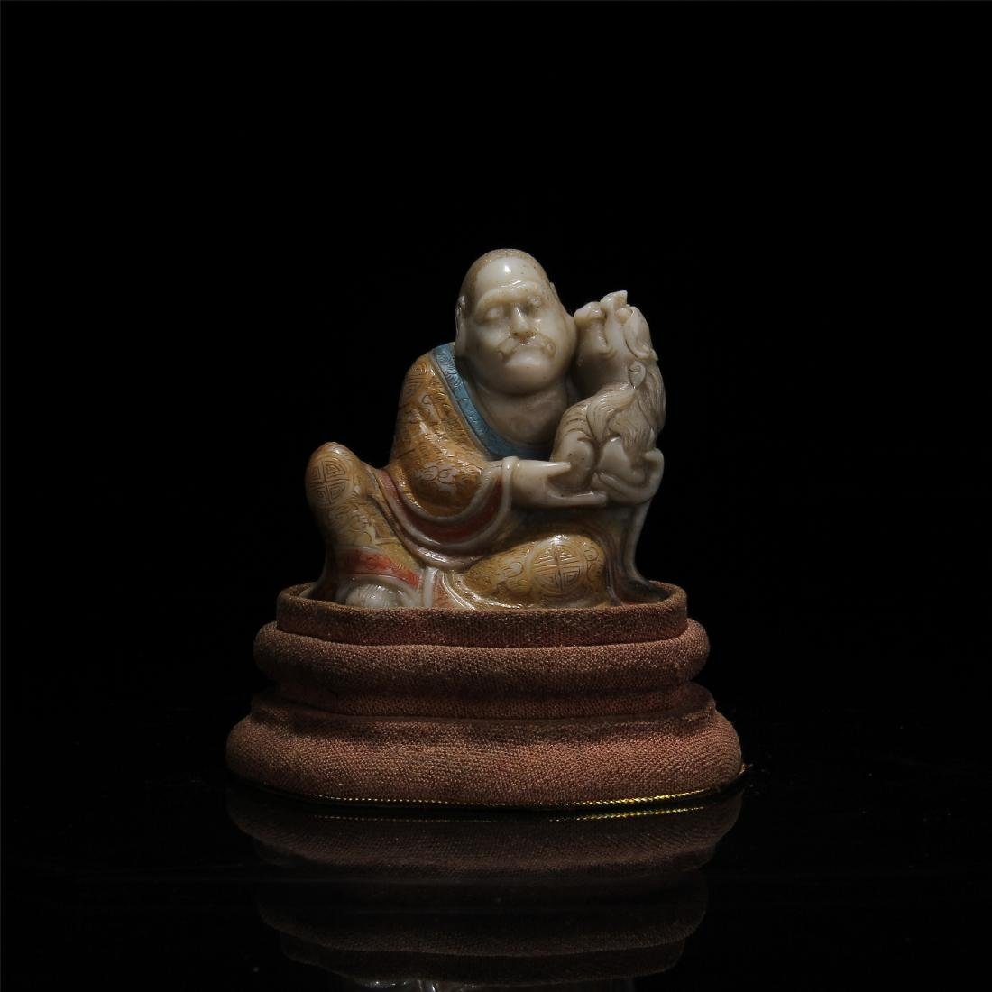 CHINESE SOAPSTONE LOHAN WITH TIGER