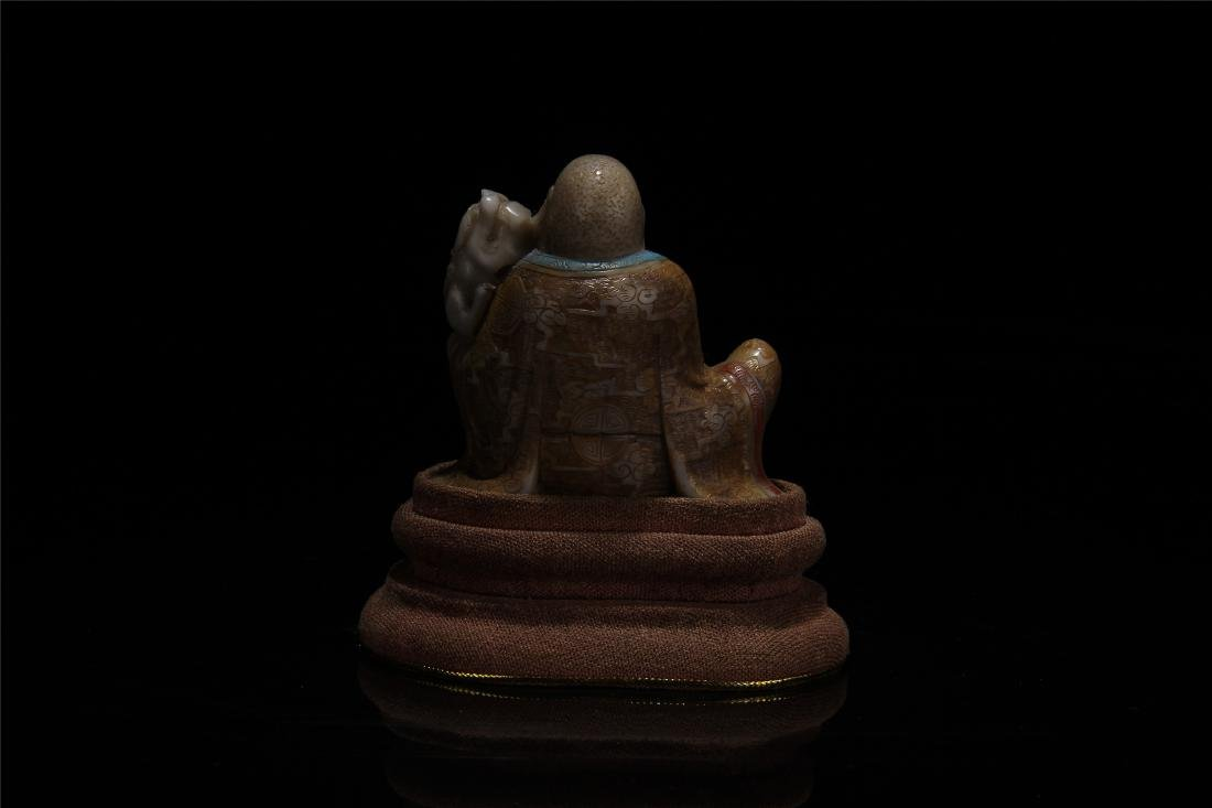 CHINESE SOAPSTONE LOHAN WITH TIGER - 4