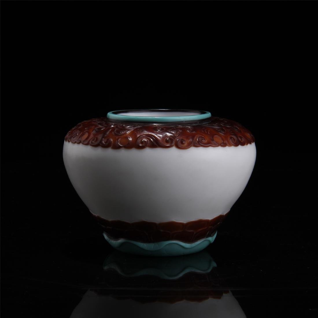 CHINESE TRIPLE COLOR PEKING GLASS JAR
