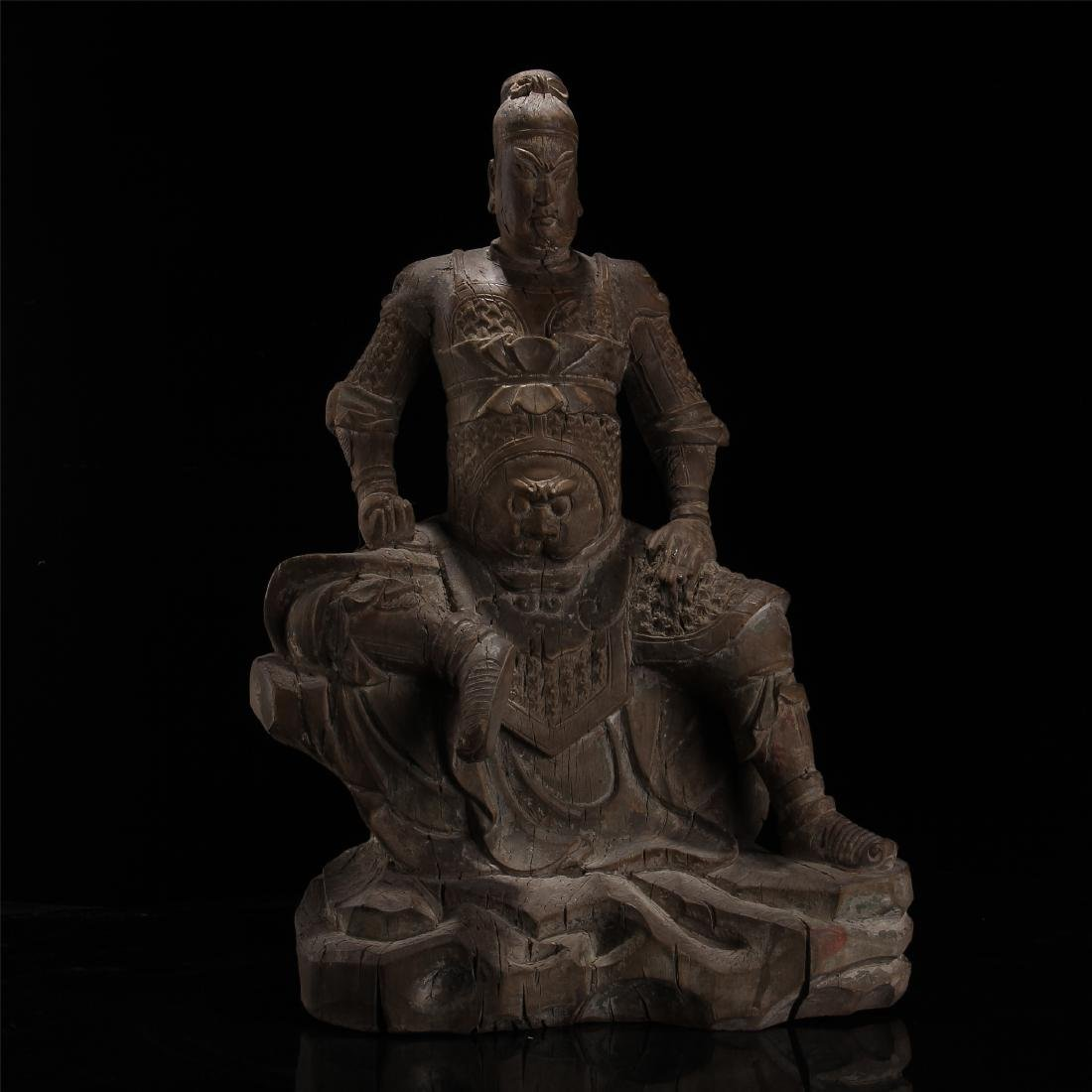 CHINESE WOOD CARVED SEATED WARRIOR