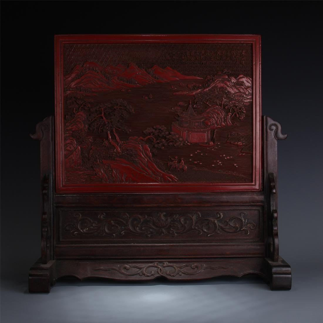 CHINESE ROSEWOOD TABLE SCREEN WITH CINNABAR PLAQUE