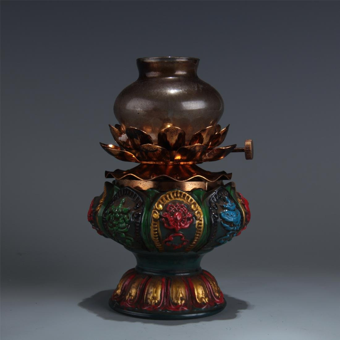 CHINESE GLASS OIL LAMP