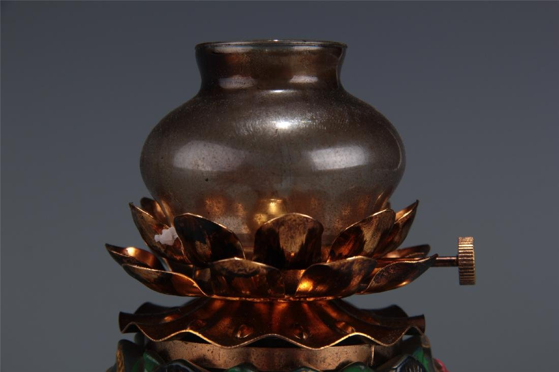 CHINESE GLASS OIL LAMP - 2
