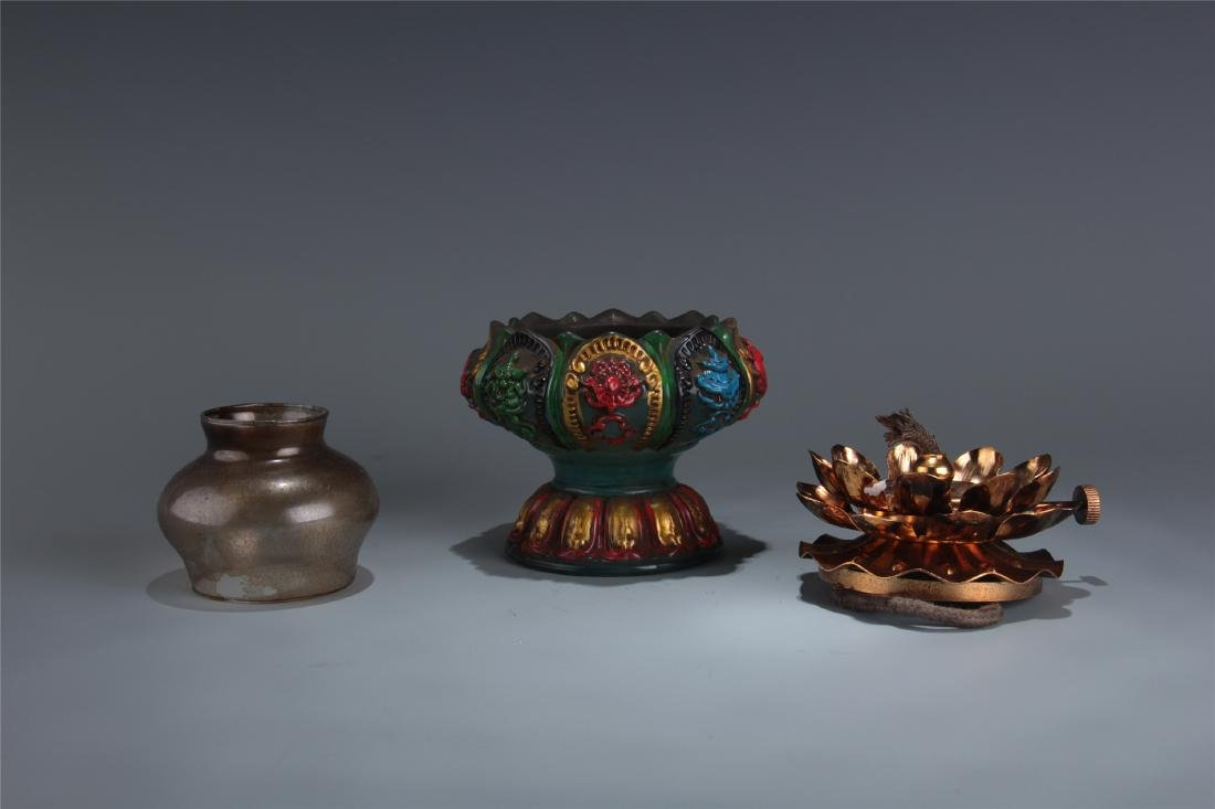 CHINESE GLASS OIL LAMP - 5