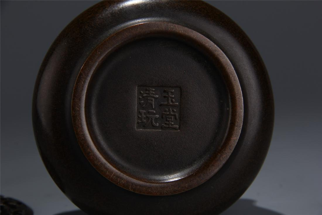 CHINESE BRONZE LIDDED ROUND CENSER - 6