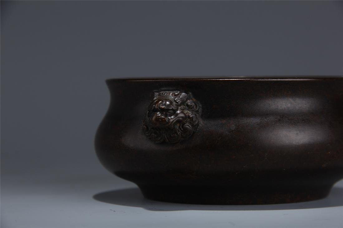 CHINESE BRONZE LION HEAD HANDLE ROUND CENSER - 3