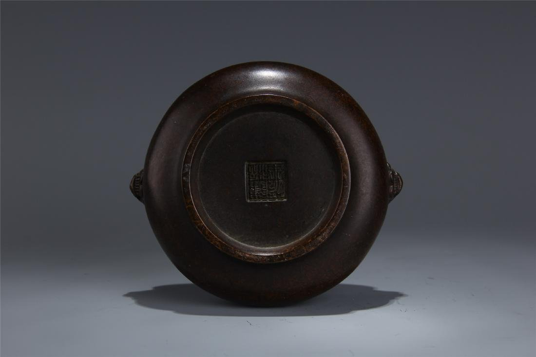 CHINESE BRONZE LION HEAD HANDLE ROUND CENSER - 5