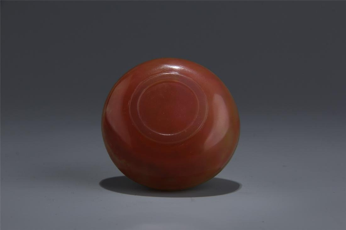 CHINESE AGATE CARVED FLOWER SEAL PASTA BOX - 4