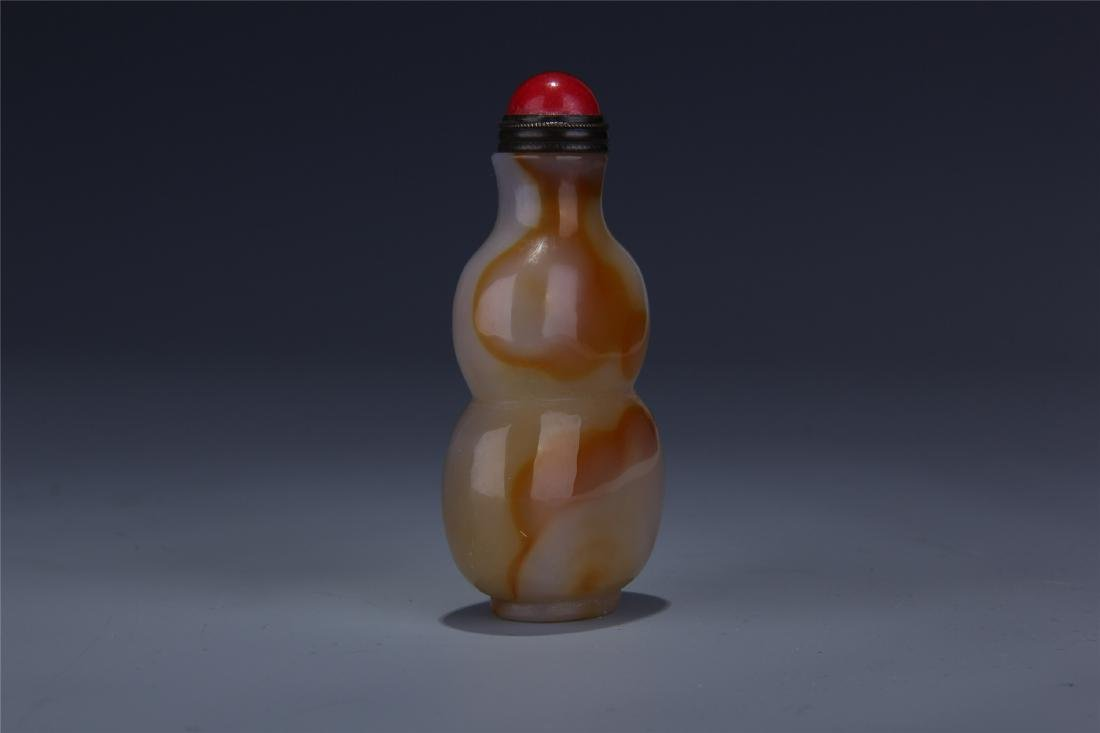 CHINESE AGATE GOURD SNUFF BOTTLE - 3