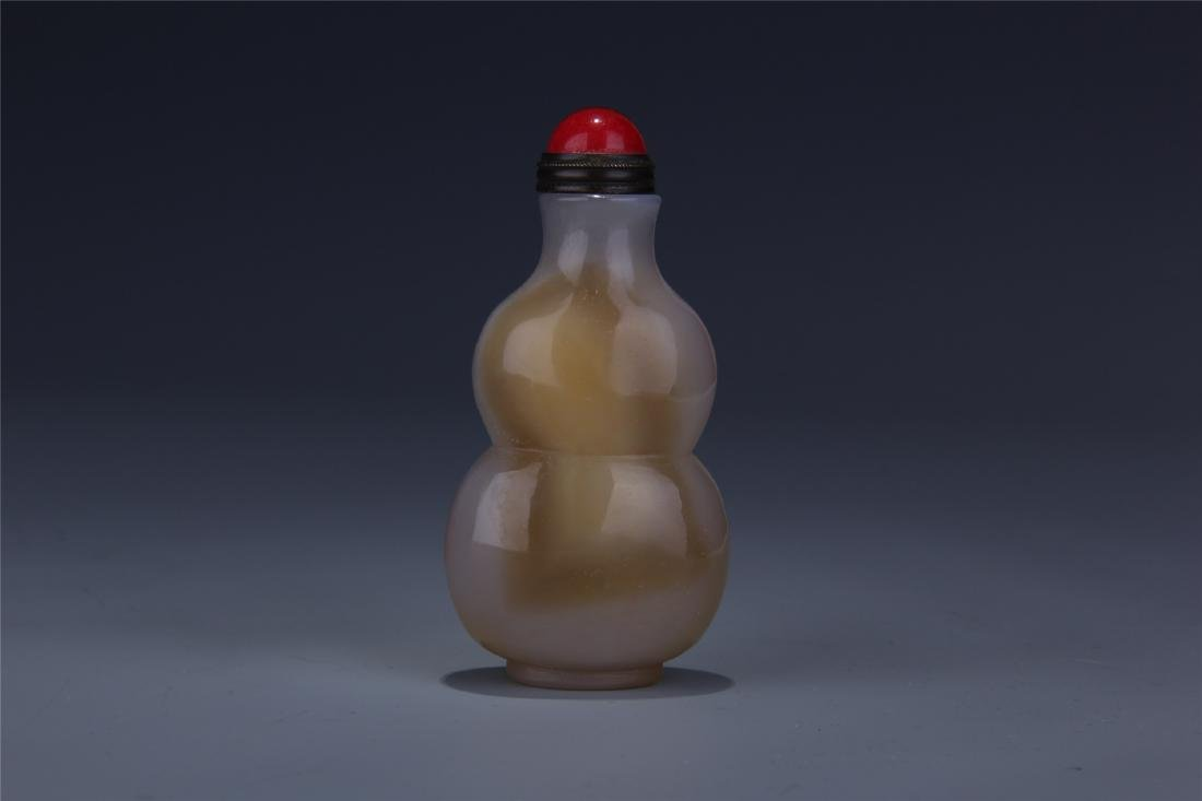 CHINESE AGATE GOURD SNUFF BOTTLE - 4
