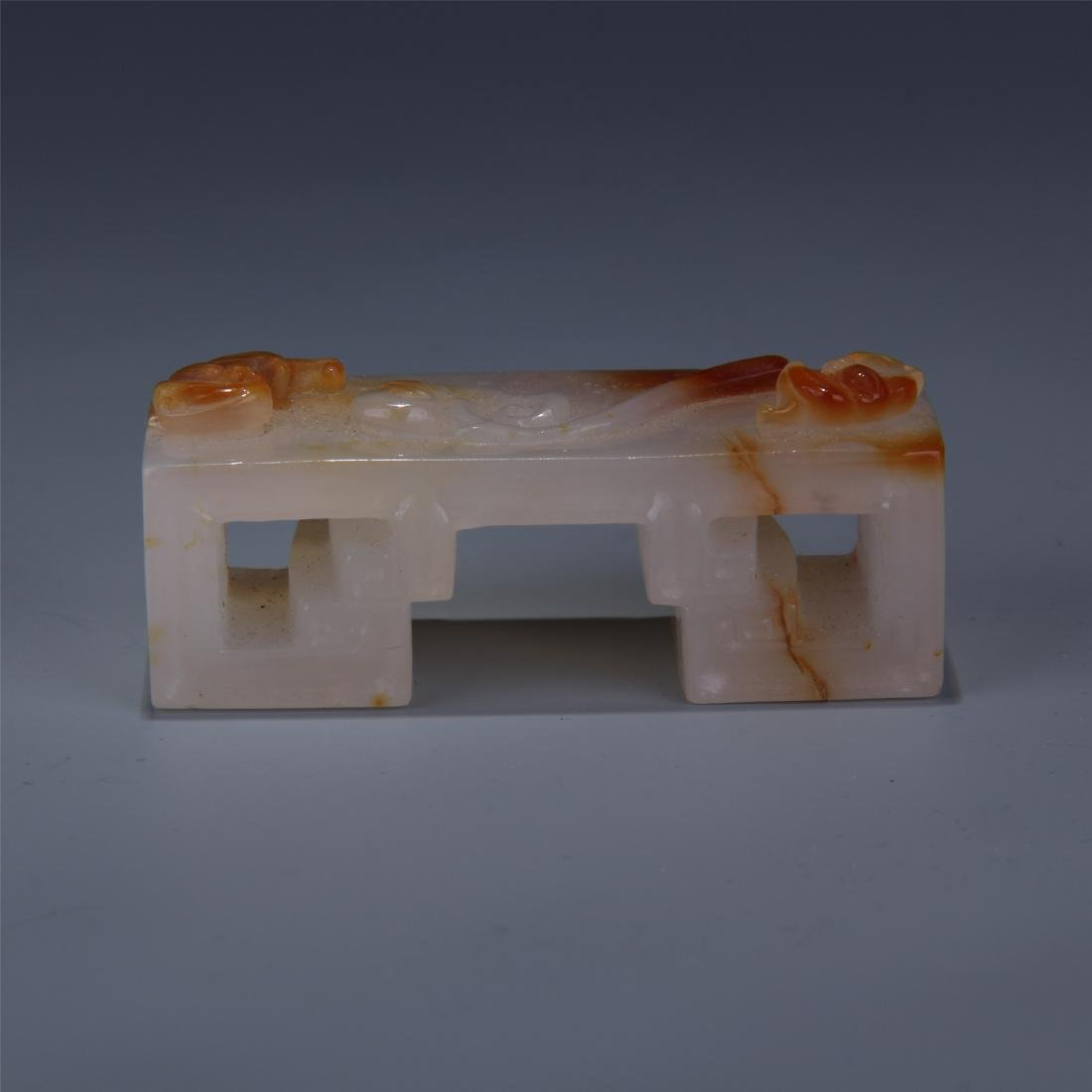 CHINESE AGATE INK CAKE STAND