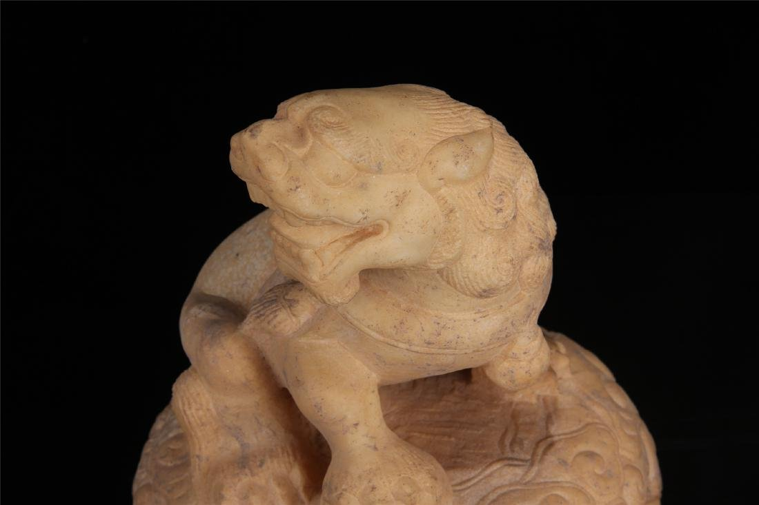 PAIR OF CHINESE MARBLE LIONS PAPER WEIGHT - 7