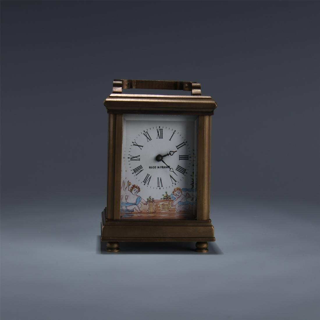 EUROPEAN BRONZE ENAMEL DIAL CLOCK