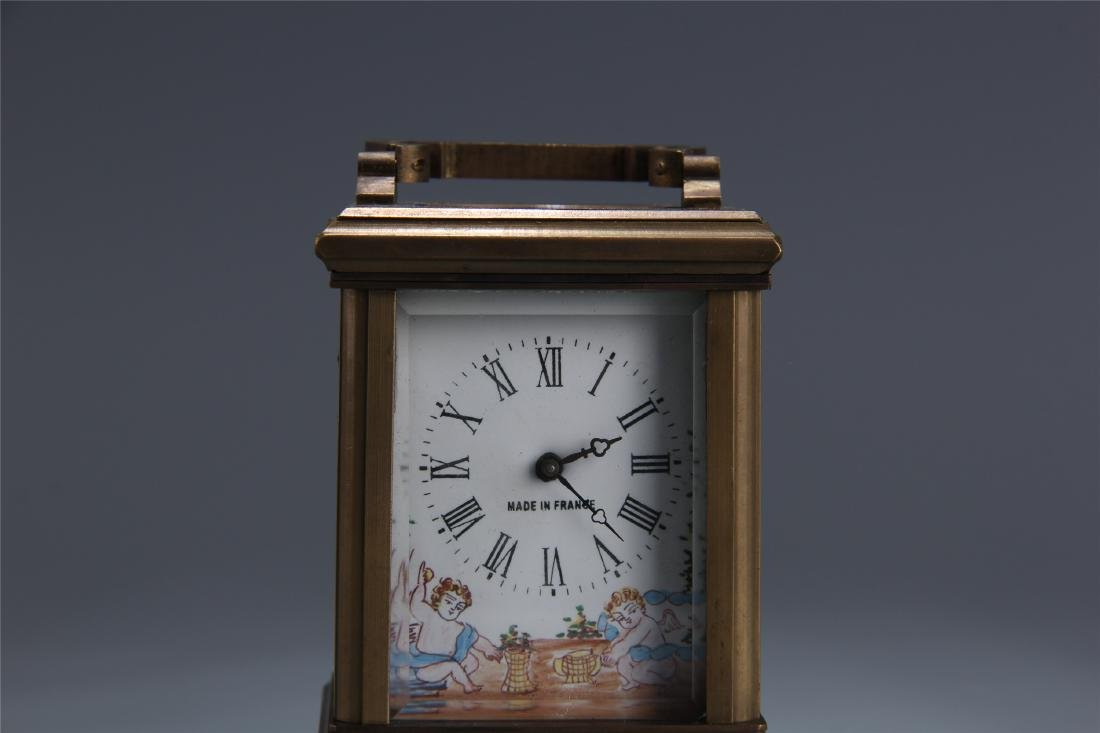 EUROPEAN BRONZE ENAMEL DIAL CLOCK - 2