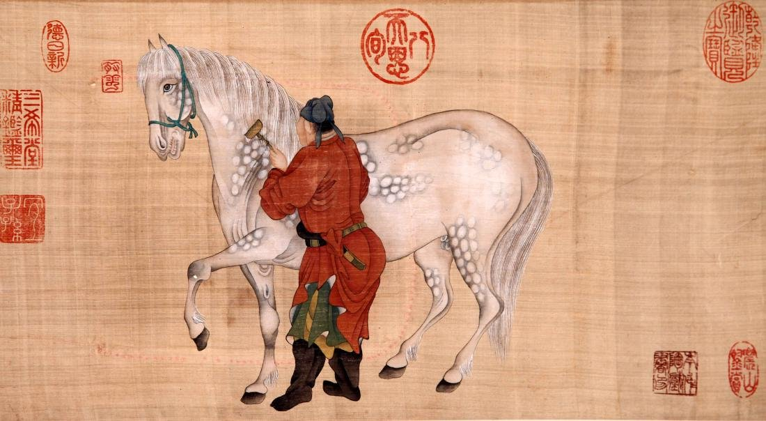 CHINESE SCROLL PAINTING OF MAN AND HORSE ON SILK - 2
